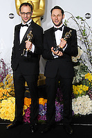 HOLLYWOOD, LOS ANGELES, CA, USA - MARCH 02: Laurent Witz, Alexandre Espigares at the 86th Annual Academy Awards - Press Room held at Dolby Theatre on March 2, 2014 in Hollywood, Los Angeles, California, United States. (Photo by Xavier Collin/Celebrity Monitor)