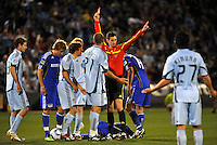 Referee Landis Wiley shows Julien Baudet red card...Kansas City Wizards defeated Colorado Rapids 1-0 at Community America Ballpark, Kansas City,Kansas.
