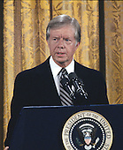 United States President Jimmy Carter holds a press conference in the East Room of the White House in Washington, DC on August 4, 1980.  The President discussed the scandal surrounding his brother Billy.  Carter said there was no impropriety in his brother's activities and insisted neither he nor any member of his administration broke any laws.  The President went on to say his brother tried to free the American hostages being held in Iran through his dealings with the Libyans.<br /> Credit: Benjamin E. &quot;Gene&quot; Forte / CNP