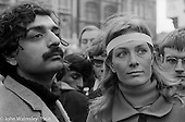 Tariq Ali and Vanessa Redgrave lead the march, anti-Vietnam war demonstration from Trafalgar Sq to Grosvenor Sq Sunday 17th March 1968.  A young Richard Branson is just visible between them.  At the time, I think he was editor of a student magazine.  I was told the headband was a Vietnamese sign of mourning for dead children.