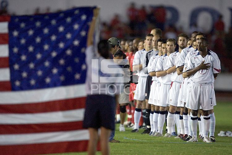 The USA stands for the national anthem before the match against Panama in the first half in Panama City, Panama, Wednesday, June 8, 2005.