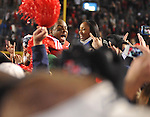Mississippi linebacker Denzel Nkemdiche (4) celebrates with fans at Vaught Hemingway Stadium in Oxford, Miss. on Saturday, November 24, 2012. Mississippi beat Mississippi State 41-24. (AP Photo/Oxford Eagle, Bruce Newman).