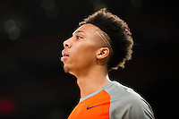 NEW YORK, NY - Sunday December 13, 2015: Malachi Richardson (#23) of Syracuse warms up before the game.  St. John's defeats Syracuse 84-72 during the NCAA men's basketball regular season at Madison Square Garden in New York City.