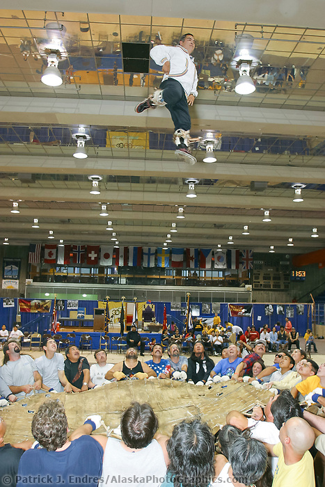 NALAKATUK (BLANKET TOSS), at the World Eskimo Indian Olympics held annually in July, Fairbanks, Alaska. Several walrus skins are used for this event.