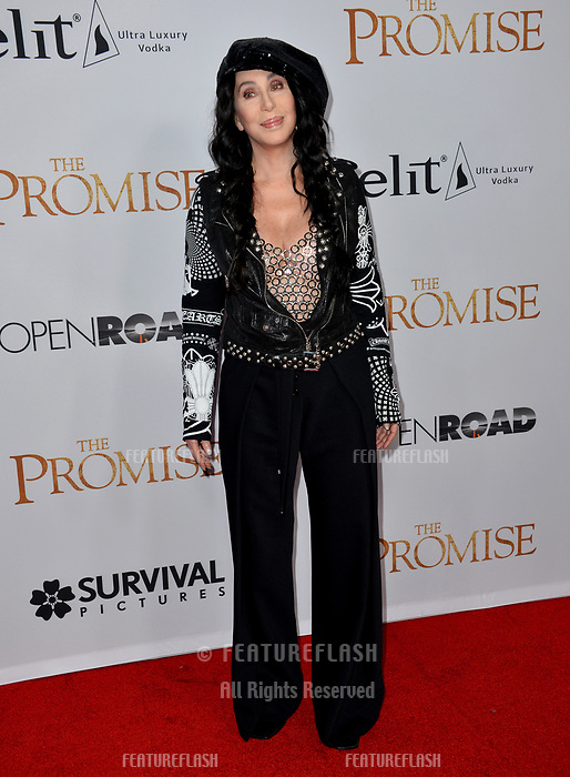 Cher at the premiere for &quot;The Promise&quot; at the TCL Chinese Theatre, Hollywood. Los Angeles, USA 12 April  2017<br /> Picture: Paul Smith/Featureflash/SilverHub 0208 004 5359 sales@silverhubmedia.com