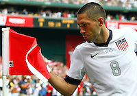 WASHINGTON, DC - June 02 2013: USA MNT v Germany MNT in the US Soccer Centennial match at RFK Stadium, in Washington DC. Clint Dempsey (8) after scoring his first goal. USA won 4-3.