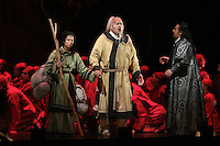 Seattle Opera Turandot Gold Cast Dress. Lina Tetriani (Liu), Antonello Palombi (Calaf) and Peter Rose (Timur).