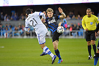 San Jose, CA - Saturday, March 04, 2017: Matteo Mancosu, Florian Jungwirth prior to a Major League Soccer (MLS) match between the San Jose Earthquakes and the Montreal Impact at Avaya Stadium.