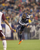 New England Revolution midfielder Sainey Nyassi (17) follows through on a shot. In a Major League Soccer (MLS) match, the New England Revolution tied the Colorado Rapids, 0-0, at Gillette Stadium on May 7, 2011.