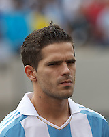 Argentina midfielder Fernando Gago (5). In an international friendly (Clash of Titans), Argentina defeated Brazil, 4-3, at MetLife Stadium on June 9, 2012.