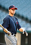 4 September 2009: Minnesota Twins' rookie second baseman Matt Tolbert awaits his turn in the batting cage prior to a game against the Cleveland Indians at Progressive Field in Cleveland, Ohio. The Indians defeated the Twins 5-2 to take the first game of their three-game weekend series. Mandatory Credit: Ed Wolfstein Photo