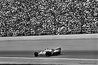 INDIANAPOLIS, IN: Johnny Rutherford drives his Chaparral 2K/Cosworth en route to winning the Indianapolis 500 on May 25, 1980, at the Indianapolis Motor Speedway.
