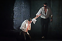 "London, UK. 09.03.2016. English Touring Opera presents ""Don Giovanni"", by Wolfgang Amadeus Mozart, at the Hackney Empire.  Directed by Lloyd Wood, with set & costume design by Anna Fleischle and lighting design by Guy Hoare. Picture shows:  Tim Dawkins (Il Commendatore), George von Bergen (Don Giovanni). Photograph © Jane Hobson."
