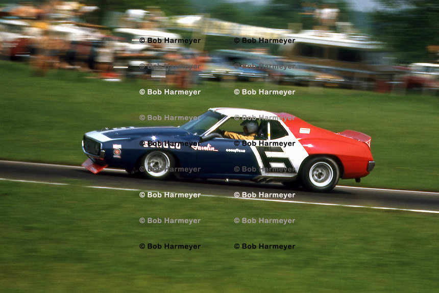 LEXINGTON, OH - JUNE 6: Mark Donohue drives the Roger Penske AMC Javelin during the SCCA Trans-Am race at the Mid-Ohio Sports Car Course near Lexington, Ohio, on June 6, 1971.
