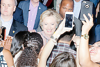 Democratic Presidential nominee Hillary Clinton greets people and takes selfies with them after a speech in the Theodore R. Gibson Health Center at Miami Dade College-Kendall Campus in Miami, Florida, USA. Former Vice President Al Gore also spoke at the event.