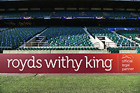 A general view of a Royds Withy King billboard alongside the pitch. The Clash, Aviva Premiership match, between Bath Rugby and Leicester Tigers on April 8, 2017 at Twickenham Stadium in London, England. Photo by: Patrick Khachfe / Onside Images