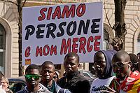 Roma, 23 Marzo 2015<br /> Manifestazione di migranti richiedenti asilo che chiedono un  permesso di soggiorno umanitario per tutti, un&rsquo;accoglienza dignitosa  e la possibilit&agrave; di un lavoro per tutti e per dire &laquo;no allo sfruttamento e al business dell&rsquo;accoglienza&raquo;. La manifestazione &egrave; organizzata dal sindacato  Usb. <br /> Rome, March 23, 2015<br /> Demonstration by asylum-seeking immigrants who they ask  a humanitarian residence permit for all , decent reception and the possibility of a job for everyone and say &quot;no to exploitation and to the business of hospitality.&quot; The protest  is organized by the union Usb.