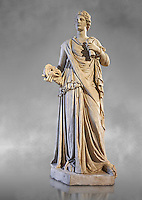 Female statue known as the Muse de Louveciennes, a Roman statue of the 3rd century AD from Rome. The Royal Collection Inv No. MR 354 or Ma 170, Louvre Museum, Paris.