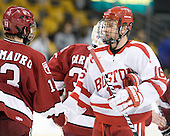 Kevin Gilroy (BU - 16) - The Harvard University Crimson defeated the Boston University Terriers 5-4 in the 2011 Beanpot consolation game on Monday, February 14, 2011, at TD Garden in Boston, Massachusetts.
