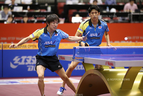 (L-R) <br /> Koki Niwa, <br /> Maharu Yoshimura (JPN), <br /> JUNE 16, 2016 - Table Tennis : <br /> ITTF World Tour, Japan Open 2016 <br /> men's doubles first round match <br /> at Tokyo Metropolitan Gymnasium, Tokyo, Japan. <br /> (Photo by AFLO SPORT)