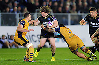 Nick Auterac of Bath Rugby takes on the Bristol Rugby defence. European Rugby Challenge Cup match, between Bath Rugby and Bristol Rugby on October 20, 2016 at the Recreation Ground in Bath, England. Photo by: Patrick Khachfe / Onside Images