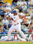 12 March 2008: Los Angeles Dodgers' outfielder Delwyn Young in action during a Spring Training game against the Washington Nationals at Holman Stadium, in Vero Beach, Florida. The Nationals defeated the Dodgers 10-4 at the historic Dodgertown ballpark. 2008 marks the final season of Spring Training at Dodgertown for the Dodgers, as the team will move to new training facilities in Arizona starting in 2009 after 60 years in Florida...Mandatory Photo Credit: Ed Wolfstein Photo