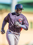 4 March 2013: Minnesota Twins outfielder Brandon Boggs rounds the bases after hitting a solo home run during a Spring Training game against the St. Louis Cardinals at Roger Dean Stadium in Jupiter, Florida. The Twins shut out the Cardinals 7-0 in Grapefruit League play. Mandatory Credit: Ed Wolfstein Photo *** RAW (NEF) Image File Available ***