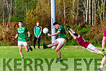 Skellig Rangers Diarmuid Keating launches another attack as Dromids Padraig O'Sullivan dives in to try and block.