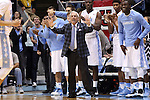 16 November 2014: UNC head coach Roy Williams. The University of North Carolina Tar Heels played the Robert Morris University Colonials in an NCAA Division I Men's basketball game at the Dean E. Smith Center in Chapel Hill, North Carolina. UNC won the game 103-59.