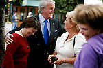 Brian Mulroney interacts with some female fans after a book signing promoting his new book &quot;Memoirs&quot; at Munro's Books in Victoria, British Columbia. Photo assignment for the Globe and Mail national newspaper in Canada.