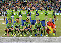 November, 2013: CenturyLink Field, Seattle, Washington: Seattle Sounders FC starting 11  as the Portland Timbers defeat  the Seattle Sounders FC 2-1 in the Major League Soccer Playoffs semifinals Round.