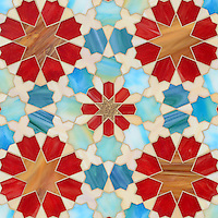 Granada Grande, a jewel glass waterjet mosaic shown in Gold Glass, Tiger's Eye, Garnet, Peacock Topaz, Quartz, and Aquamarine , is part of the Miraflores Collection by Paul Schatz for New Ravenna Mosaics.<br /> <br /> As seen in Elle Decor.