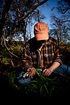 Hank Shaw forages for wild onions in Orangevale, California, February 22, 2013.