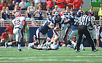 Ole Miss' Zack Stoudt (8) runs the ball at Vaught-Hemingway Stadium in Oxford, Miss. on Saturday, September 24, 2011. Georgia won 27-13.