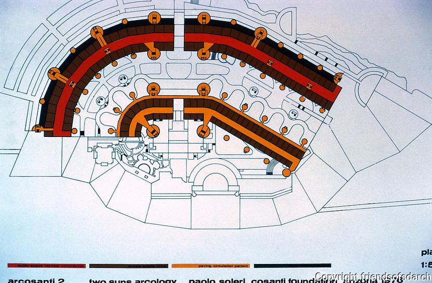 Paolo Soleri: ARCOSANTI, Plan II. Photo '77.