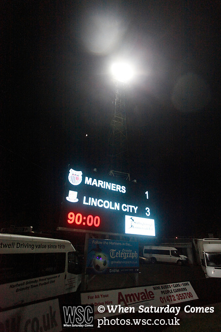 Grimsby Town 1 Lincoln City 3, 28/12/2014. Blundell Park, Football Conference. Full time scoreboard.  Photo by Paul Thompson.