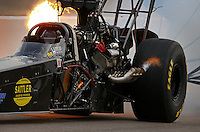 Mar 29, 2014; Las Vegas, NV, USA; NHRA top fuel dragster driver Scott Palmer after losing the bodywork from his car during qualifying for the Summitracing.com Nationals at The Strip at Las Vegas Motor Speedway. Mandatory Credit: Mark J. Rebilas-USA TODAY Sports