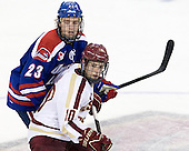 Scott Wilson (UML - 23), Danny Linell (BC - 10) - The Boston College Eagles defeated the visiting University of Massachusetts Lowell River Hawks 6-3 on Sunday, October 28, 2012, at Kelley Rink in Conte Forum in Chestnut Hill, Massachusetts.