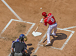 1 June 2014: Washington Nationals second baseman Danny Espinosa at bat against the Texas Rangers at Nationals Park in Washington, DC. The Rangers shut out the Nationals 2-0 to salvage the third the third game of their 3-game inter-league series. Mandatory Credit: Ed Wolfstein Photo *** RAW (NEF) Image File Available ***