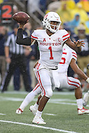 Annapolis, MD - October 8, 2016: Houston Cougars quarterback Greg Ward Jr. (1) throws a pass during game between Houston and Navy at  Navy-Marine Corps Memorial Stadium in Annapolis, MD.   (Photo by Elliott Brown/Media Images International)