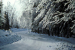 Winding country road in winter, Lanark County, rural Ontario