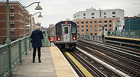 A Number 2 IRT elevated subway train arrives at the Prospect Avenue station in the Bronx in New York on Thursday, March 30, 2017.  (© Richard B. Levine)