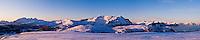 View from Stamsundheia towards Justadtind mountain peak, Stamsund, Vestvågøy, Lofoten islands, Norway