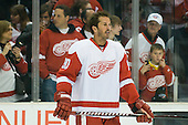 Mike Modano (Detroit Red Wings, #90) at warmup during ice-hockey match between Los Angeles Kings and Detroit Red Wings in NHL league, February 28, 2011 at Staples Center, Los Angeles, USA. (Photo By Matic Klansek Velej / Sportida.com)