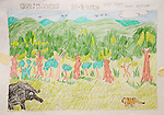 """A winning entry in a drawing contest that followed the theme of the Pride Campaign: """"When the forest is looked after, people prosper."""" A Sumatran tiger and elephants are shown against an intact forest."""