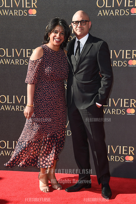 Indhu Rubasingham &amp; Ayad Akhtar at The Olivier Awards 2017 at the Royal Albert Hall, London, UK. <br /> 09 April  2017<br /> Picture: Steve Vas/Featureflash/SilverHub 0208 004 5359 sales@silverhubmedia.com