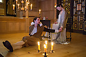 London, UK. 14.01.2014. The new Sam Wanamaker Playhouse, at Shakespeare's Globe, opens with The Duchess of Malfi, by John Webster, directed by Dominic Dromgoole. Picture shows: Gemma Arterton (The Duchess) and Alex Waldmann (Antonio). Photograph © Jane Hobson.