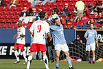 14 December 2008: Garry Lewis (8) of North Carolina battles with Graham Zusi (11) of Maryland for a head ball.  The University of Maryland Terrapins defeated the University of North Carolina Tar Heels 1-0 at Pizza Hut Park in Frisco, TX in the championship game of the 2008 NCAA Division I Men's College Cup.