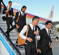 FUSSBALL  CHAMPIONS LEAGUE  FINALE  SAISON 2013/2014  23.05.2013 Real Madrid - Atletico Madrid Ankunft Real Madrid am Flughafen in Lissabon; Pepe, Cristiano Ronaldo, Sami Khedira und Angel Di Maria (v.re.)