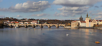View of the Vltava river with the Charles Bridge or Karluv most and the Bedrich Smetana Museum on the right, Prague, Czech Republic. The historic centre of Prague was declared a UNESCO World Heritage Site in 1992. Picture by Manuel Cohen